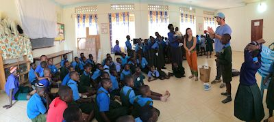 Jeff Goldsmith Speaking to Children in Uganda